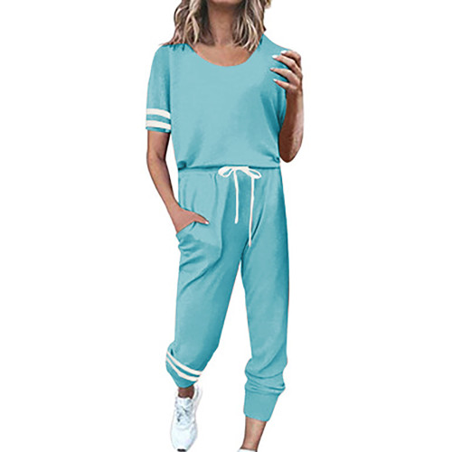 Aquamarine Contrast Stripe Short Sleeve Top and Pant Set TQK710329-45