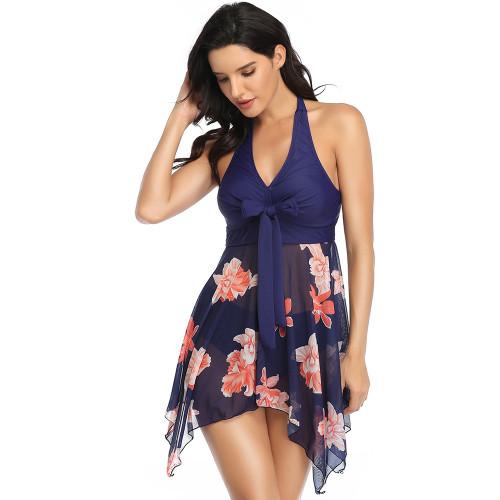 Navy Blue Floral Print Asymmetric Hem Halter Swimdress with Panty TQK610213-34