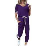 Purple Contrast Stripe Short Sleeve Top and Pant Set TQK710329-8