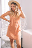 Button Front Sleeveless Mini Dress with Pockets LC224540-14