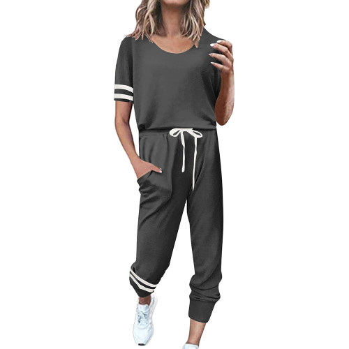 Dark Gray Contrast Stripe Short Sleeve Top and Pant Set TQK710329-26