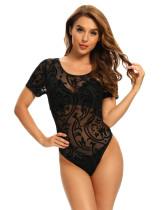 Black Short Sleeve Mesh Lace Bodysuit TQF00006-2
