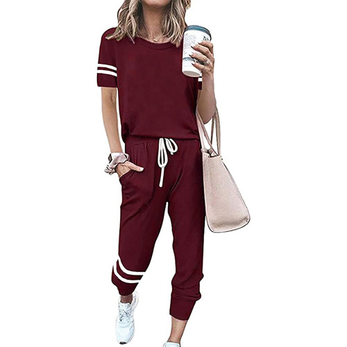 Wine Red Contrast Stripe Short Sleeve Top and Pant Set TQK710329-23