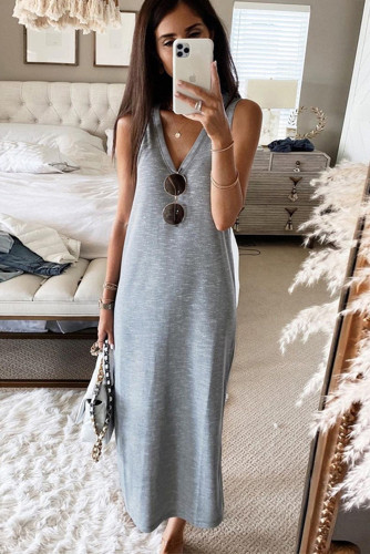 Gray V-Neck Sleeveless Loose Fit Maxi Dress LC614111-11