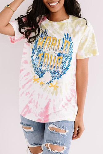 Pink WORLD TOUR Tie-dye Print Tee LC2524510-10