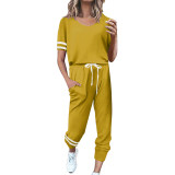 Yellow Contrast Stripe Short Sleeve Top and Pant Set TQK710329-7