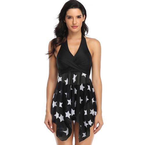 Black Stars Print Asymmetric Hem Halter Swimdress with Panty TQK610213-2