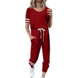 Red Contrast Stripe Short Sleeve Top and Pant Set TQK710329-3