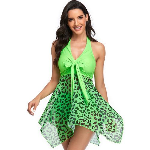 Grass Green Leopard Asymmetric Hem Halter Swimdress with Panty TQK610213-61