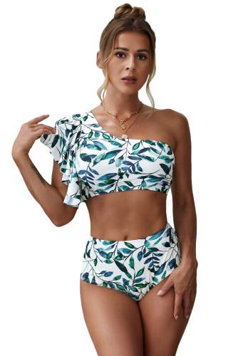 Leaves Print Ruffled Single Shoulder High Waist Bikini LC43509-1