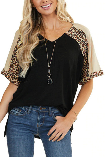 Leopard Print Color Block Sleeves Patchwork Tunic Top LC2515829-2