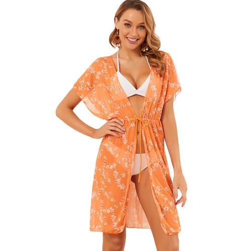 Orange Zebra Print Beach Cover Up TQK650087-14