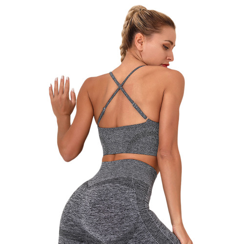 Dark Gray Yoga Knitted Sports Bra TQE180192-26