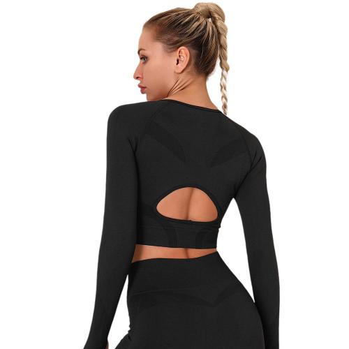 Black Long Sleeve Seamless Yoga Top TQE180189-2