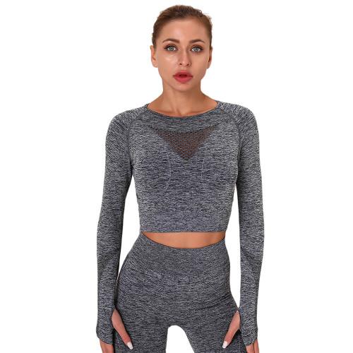 Dark Gray Long Sleeve Seamless Yoga Top TQE180189-26