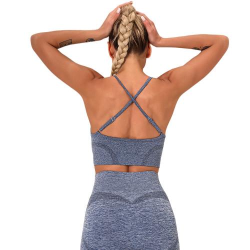 Navy Blue Yoga Knitted Sports Bra TQE180192-34
