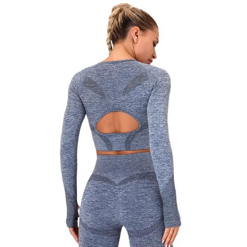 Navy Blue Long Sleeve Seamless Yoga Top TQE180189-34
