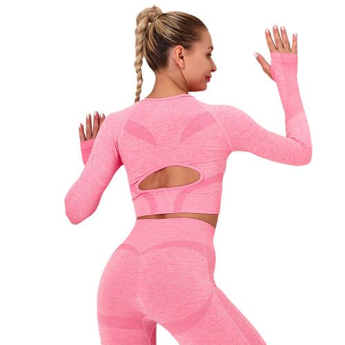 Peach Long Sleeve Seamless Yoga Top TQE180189-104