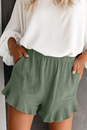 Green Linen Cotton Pocketed Flutter Shorts LC77241-109