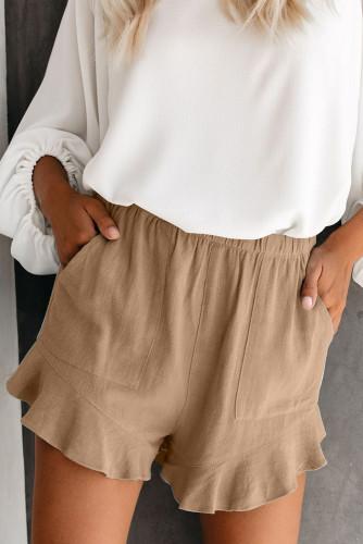 Khaki Linen Cotton Pocketed Flutter Shorts LC77241-1016