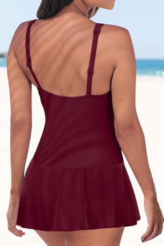 Wine Lace up Ruched Bodyshaper Tummy Control Swimdress LC44270-3