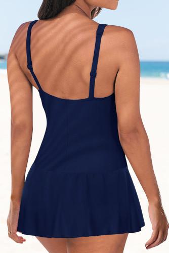 Blue Lace up Ruched Bodyshaper Tummy Control Swimdress LC44270-5