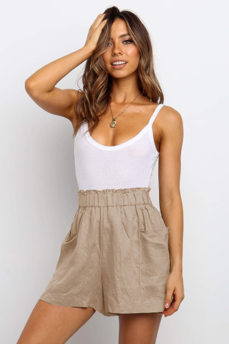 Khaki Paperbag Waist Flare Casual Shorts with Pockets LC771563-16