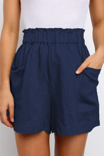 Blue Paperbag Waist Flare Casual Shorts with Pockets LC771563-5