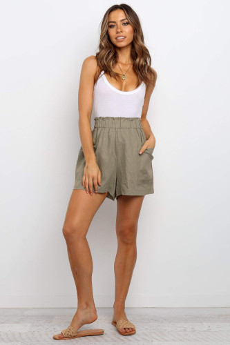Army Green Paperbag Waist Flare Casual Shorts with Pockets LC771563-9