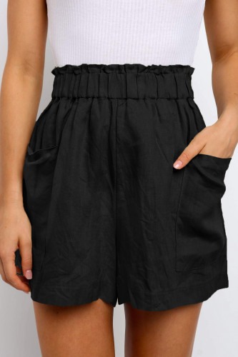 Black Paperbag Waist Flare Casual Shorts with Pockets LC771563-2