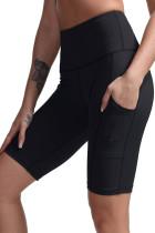 Black High Waist Tummy Control Side Pockets Biker Yoga Shorts LC263778-2