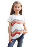 White Colorblock Striped Girls' T-shirt TZ25175-1