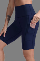 Blue High Waist Tummy Control Side Pockets Biker Yoga Shorts LC263778-5