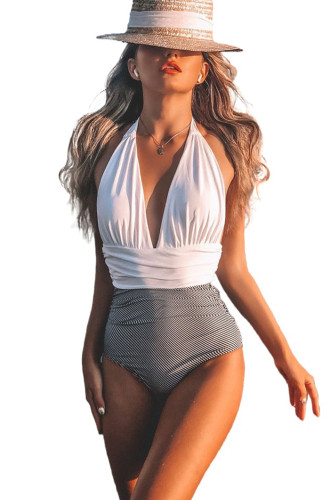 Plunge V Neck Colorblock One-piece Swimsuit LC44405-1