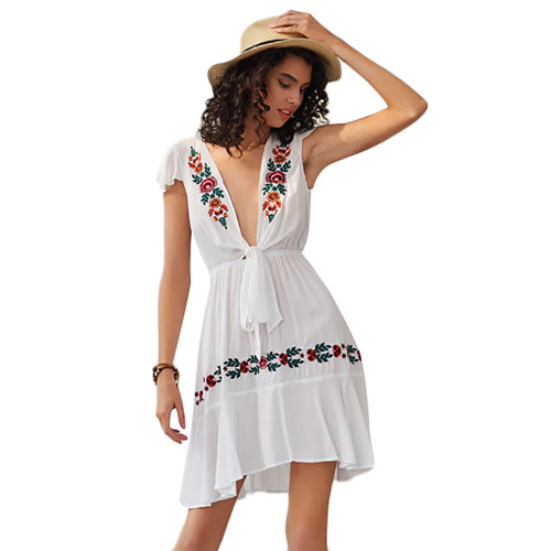 White Embroidery Front Open Short Sleeve Dress TQK310588-1