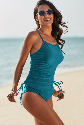Blue Halter Drawstring Ruched Cami and High Waist Panty Tankini LC411522-5