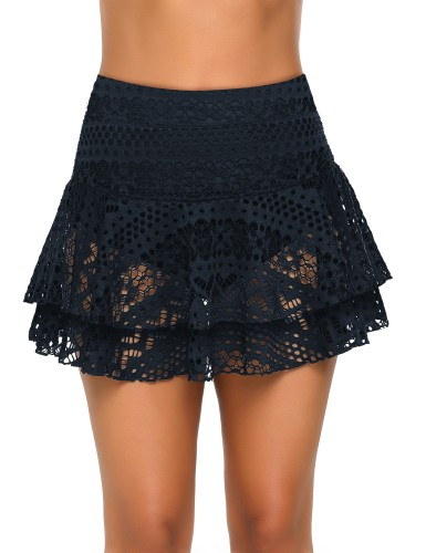 Blue Layered Hollow-Out Lace Swim Skirt LC411170-5