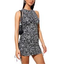 Black Leopard Print Sides Drawstring Sleeveless Mini Dress TQK310551-2B