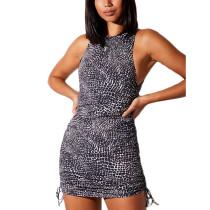 Black Crocodile Grain Sides Drawstring Sleeveless Mini Dress TQK310551-2A