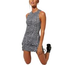 Black White Printed Sides Drawstring Sleeveless Mini Dress TQK310551-2D