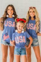 Parent-child Matching USA Leopard Print Kids T-Shirt TZ25384-5