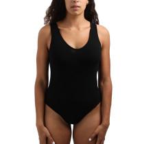 Black V Neck Sleeveless Bodysuit TQE10123-2