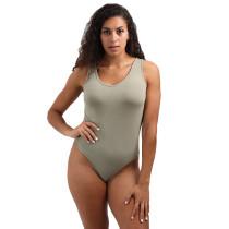 Green V Neck Sleeveless Bodysuit TQE10123-9