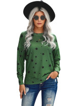 Green Round Neck Star Print Long Sleeve Top LC2511743-9