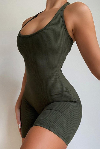 Army Green Short Sport Jumpsuit LC642684-9