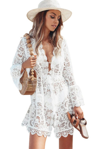 White Scalloped Sleeved Lace Crochet Cover up LC42420-1