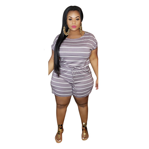 Light Purple Stripes Digital Print Plus Size Romper TQK550239-38
