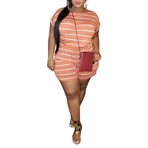 Orange Stripes Digital Print Plus Size Romper TQK550239-14
