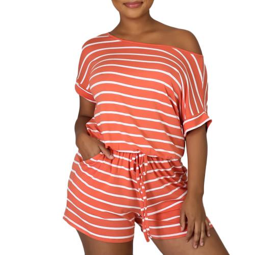 Orange Stripes Plus Size Loungewear Set TQK710335-14