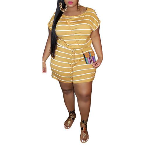 Yellow Stripes Digital Print Plus Size Romper TQK550239-7